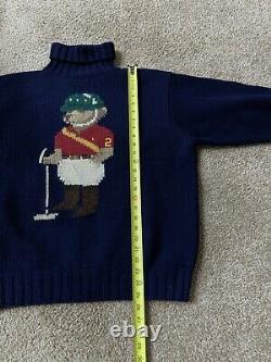 VTG RALPH LAUREN POLO BEAR JOCKEY 94 STADIUM Wool Sweater Navy Sz. L Pwing 92 93
