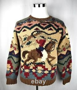 VTG Rare! Polo Ralph Lauren Hand Knit Wool Sweater Cowboy Indian KANYE WEST M