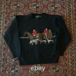 VTG Rare Polo Ralph Lauren Hand Knit Wool Sweater Cowboy Indian Suicide Ski S