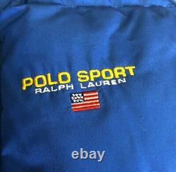 Vintage 1990s Ralph Lauren Polo Sport Down Fill Blue Puffer Jacket Coat Hood L
