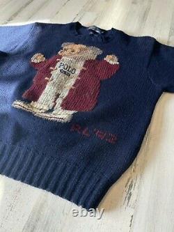 Vintage 1992 Polo Ralph Lauren Stadium Bear Men's Size Large Navy Wool Sweater