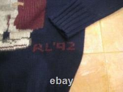 Vintage 1992 Ralph Lauren Polo Grandpa Bear sweater in navy 100% wool size S