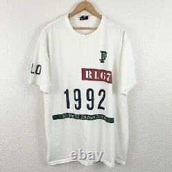 Vintage 90's Polo Ralph Lauren Stadium Plate Gymnast Tee Sz XL P Wing 1992 Sport