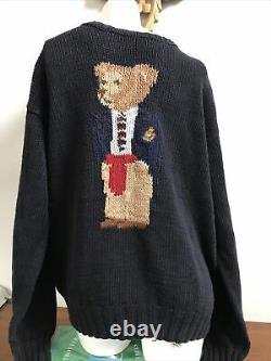 Vintage 90s POLO RALPH LAUREN knit sweater polo bear Navy size L Rare