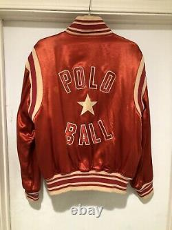 Vintage 90s Polo Ralph Lauren Polo Ball Satin Varsity Jacket Size L Made In USA