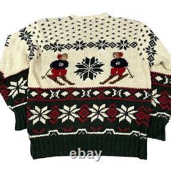 Vintage 90s Polo Ralph Lauren RL Double Bear Ski Snowflake Hand Knit Sweater