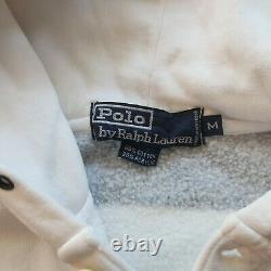 Vintage 90s Polo Ralph Lauren Stripe Crest Hoody Sweatshirt Size M