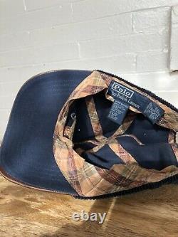 Vintage 90s RARE Polo Ralph Lauren Blue Corduroy Sportsman Hat Leather Bill