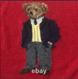 Vintage Classic Ralph Lauren Polo Bear Hand Knit Sweater 2001 XXL