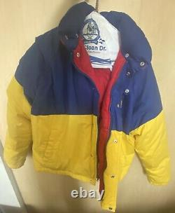 Vintage Mens POLO Ralph Lauren USA Cookie Ski Puffer 1992 Blue/Yellow Size L