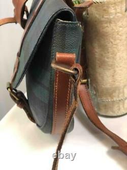 Vintage POLO RALPH LAUREN Green Plaids Brown Trims Domed Crossbody Bag