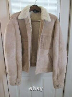 Vintage Polo By Ralph Lauren Rrl Leather Shearling Sheepskin Bomber Style Jacket