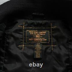 Vintage Polo Jeans Ralph Lauren Mfg Flight Bomber Military Jacket Co Black 90s