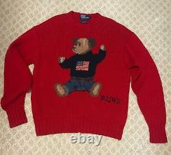 Vintage Polo Ralph Lauren 1992 Bear Sweater Stadium Snow Beach P-Wing