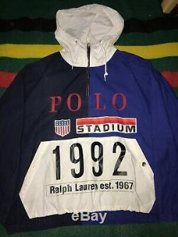 Vintage Polo Ralph Lauren 1992 stadium pullover snow beach P Wing Plate OG Sz L