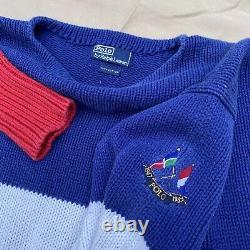 Vintage Polo Ralph Lauren Anniversary Cross Flags Knit Sweater 1967 1987
