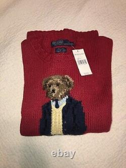 Vintage Polo Ralph Lauren Bear Sweater 2001 Red 2XL XXL Hand Knit Rare NWT