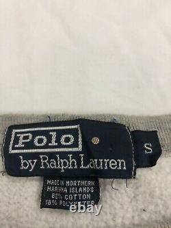 Vintage Polo Ralph Lauren Bear Sweatshirt Crewneck Size Small Heather Gray