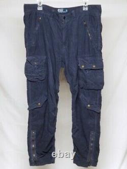 Vintage Polo Ralph Lauren Blue Corduroy Army Military Cargo Pant 36x32 Zip Ankle