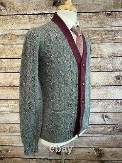 Vintage Polo Ralph Lauren Cardigan Wool Sweater Size M Gray Maroon
