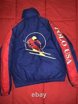 Vintage Polo Ralph Lauren Cookie Patch Downhill Ski P-Wing Hi Tech Stadium 92