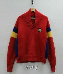 Vintage Polo Ralph Lauren Cookie Wool Pullover Button Knit Sweater Large Red