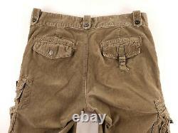 Vintage Polo Ralph Lauren Corduroy Military Cargo Pants Mens Size 34x30 Brown