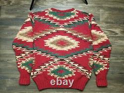 Vintage Polo Ralph Lauren Country Wool Hand Knit Aztec Sweater Tagged L