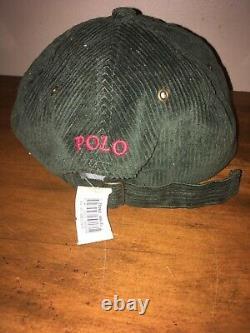 Vintage Polo Ralph Lauren Green Corduroy Bear Strapback Hat 90s NWT