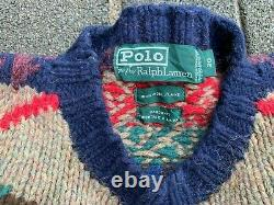 Vintage Polo Ralph Lauren Hand Knit 90's Aztec Western Sweater Medium