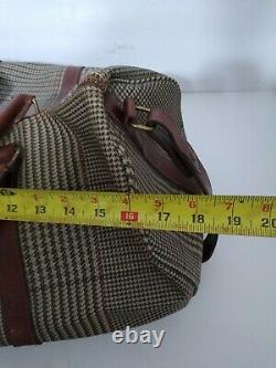 Vintage Polo Ralph Lauren Houndstooth Leather Travel Bag Luggage