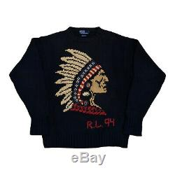 Vintage Polo Ralph Lauren Indian Head Chief Knit Sweater 1994 Sport Ski Cup Bear