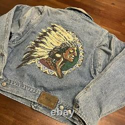 Vintage Polo Ralph Lauren Indian Head Denim Jacket Jean Jacket Size medium rare