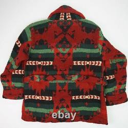 Vintage Polo Ralph Lauren (M) Hand Knit Wool Navajo Native Shawl Cardigan Robe