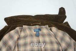 Vintage Polo Ralph Lauren Men XL Brown Corduroy/suede Leather Jacket Plaid Linin