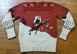 Vintage Polo Ralph Lauren Men's Wool Sweater Red Large Ski Nordic Pullover Knit