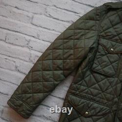 Vintage Polo Ralph Lauren Quilted Riding Jacket Size M Green Leather