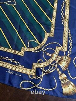 Vintage Polo Ralph Lauren Silk Creat Green Navy Striped Made Japan Scarf 35