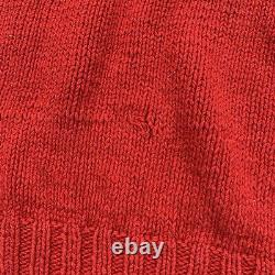 Vintage Polo Ralph Lauren Sz L 92 Sit Down Bear Flag Hand Knit Red Sweater