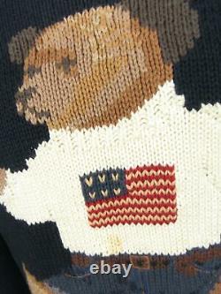 Vintage Polo Ralph Lauren Teddy Bear Handknit Navy Blue Men Sweater Jumper Small