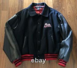 Vintage Polo Ralph Lauren Tiger Head Wool Leather sleeve Jacket Rare Size XL