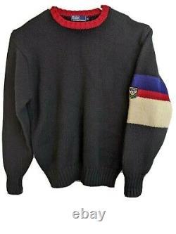Vintage Polo Ralph Lauren Wool Stadium Sweater Uni Crest Colorblock Size XL