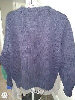 Vintage Polo Ralph Lauren Wool Sweater Navy Duck Hunting Mallard Scene Large