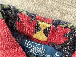 Vintage Polo Ralph Lauren western Navajo Aztec Indian Flannel Suede RRL Sz L