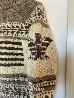 Vintage Polo Sport Ralph Lauren Front Button Cowichan Brown Wool Sweater
