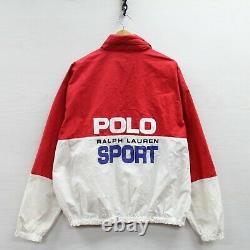 Vintage Polo Sport Ralph Lauren Light Work Jacket Size XL Reflective White Red