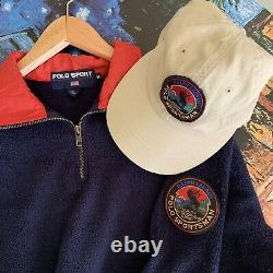 Vintage Polo Sportsman Ralph Lauren Waffle Patch Elk Cookie Hat and Fleece
