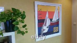 Vintage Prl Polo Ralph Lauren Cp-93 Silk Scarf Rlyc Crest Flag Sailing Yacht Ski
