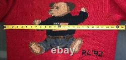 Vintage RARE 92 RALPH LAUREN POLO Bear Hand Knitted Linen Cotton L Red 92 OG