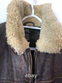 Vintage RRL Ralph Lauren Polo Distressed Bomber Leather Jacket Shearling Coat